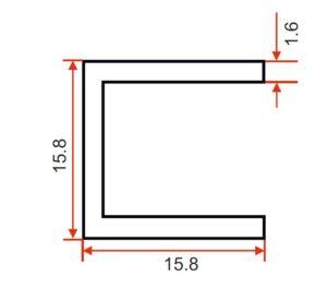 Angle – 15.8 x 15.8 x 1.6