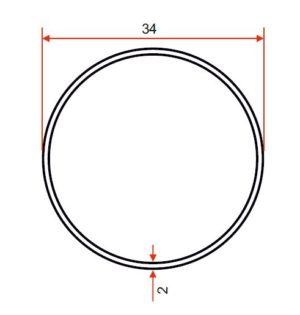 34 x 2 Yellow Powder Coated Tube – Steel
